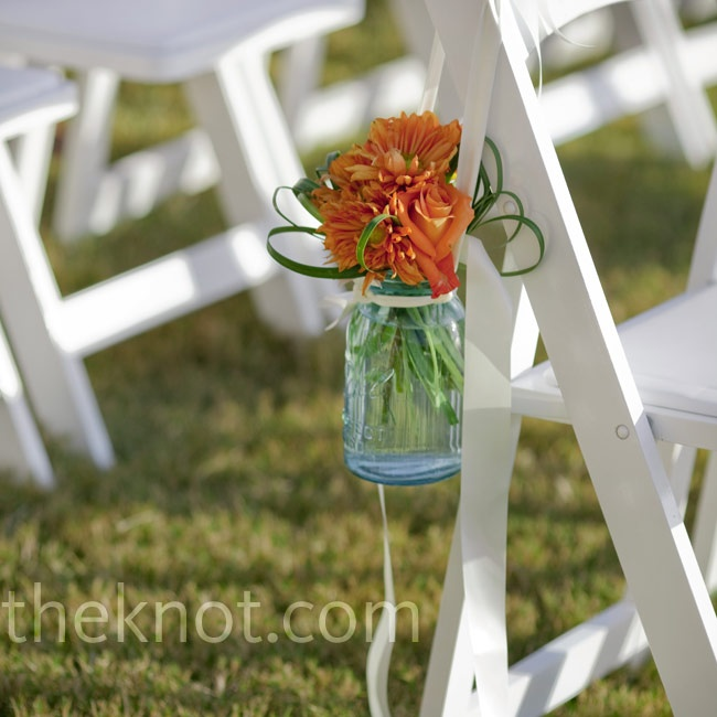 Jar Floral Arrangement Aisle Decor #wedding #ceremony