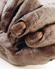 The 2200 year old hand of Old Croghan man - An Irish bog mummy. Old Croghan man was found in a bog beneath Croghan Hill in Co. Offaly and based on radiocarbon dating he died sometime between 362 BC and 175 BC . He was extremely tall measuring 6ft 6 in height and had well manicured hands suggesting that he was not used to manual labour. His last meal (analysed from the contents in his stomach) consisted of cereals and milk