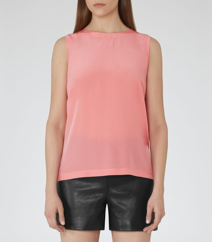 Womens Azalea Silk-front Tank Top - Reiss Gigi