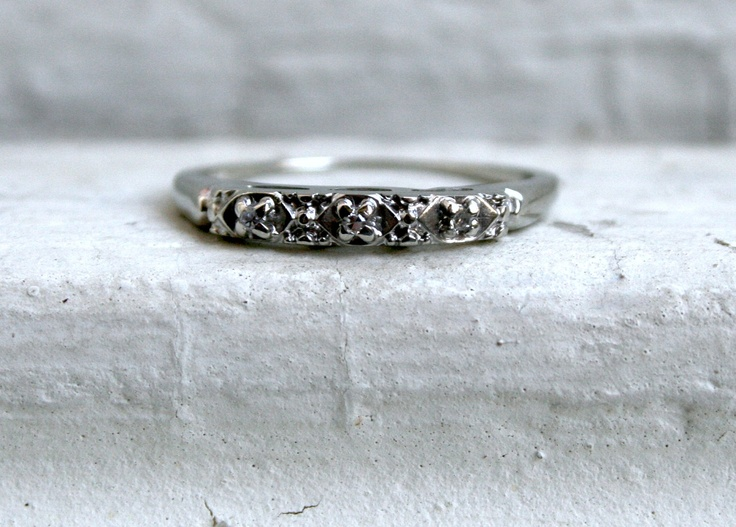 Unique Pretty Vintage 14K White Gold Diamond Wedding Band   285 00  via  Etsy 64 best Ring Shopping images on Pinterest   Diamond wedding bands  . Etsy Vintage Wedding Rings. Home Design Ideas