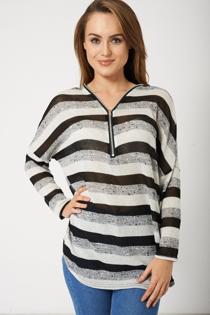 Loose Style Striped Ladies Top With Front Zip
