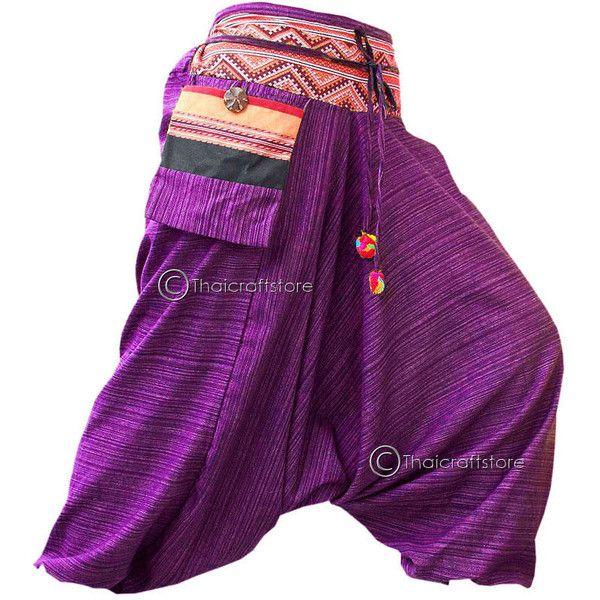 Gypsy Hippie Aladdin Hmong Baggy Purple Harem Pants Men Women Hammer... ($13) ❤ liked on Polyvore featuring pants, genie, purple, women's clothing, hippie pants, tribal print pants, print harem pants, cotton pants and tribal harem pants