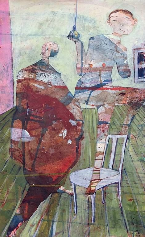 Ilya Volykhine, Switched On, 2015 - oil & mixed media on Hahnemuhle, 72x47cm on ArtStack #ilya-volykhine #art