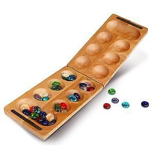WE Games 49-2008 Travel Solid Wood Folding Mancala Game (African Stone Game)