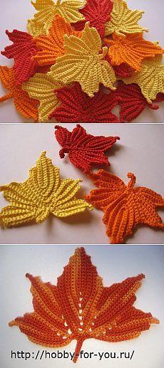 Кленовые листья. схема вязания.