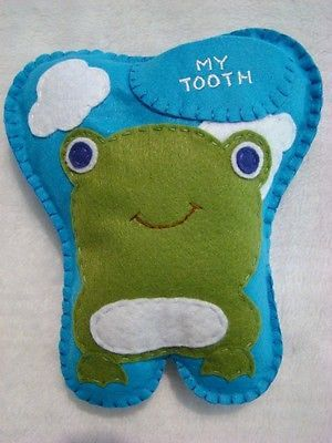 "BOYS HANDMADE FELT FROG TOOTH FAIRY PILLOW ~ 6"" X 7"""