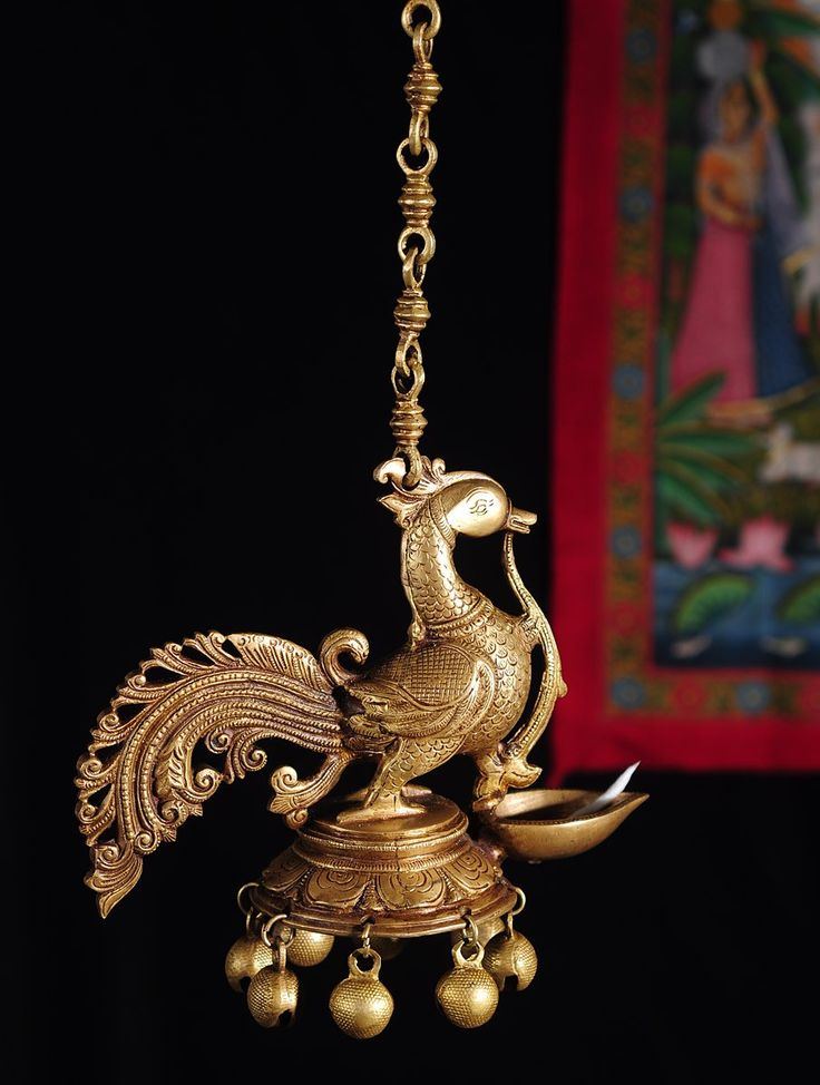 Buy Home Decor Part - 49: Buy Peacock Ghungroo Hanging Brass Lamp Online