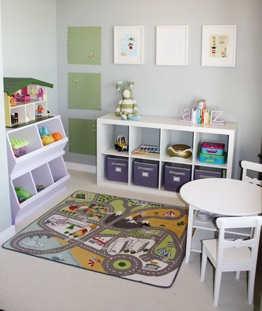 Love this Small playroom idea.  We have most of these items already!!!