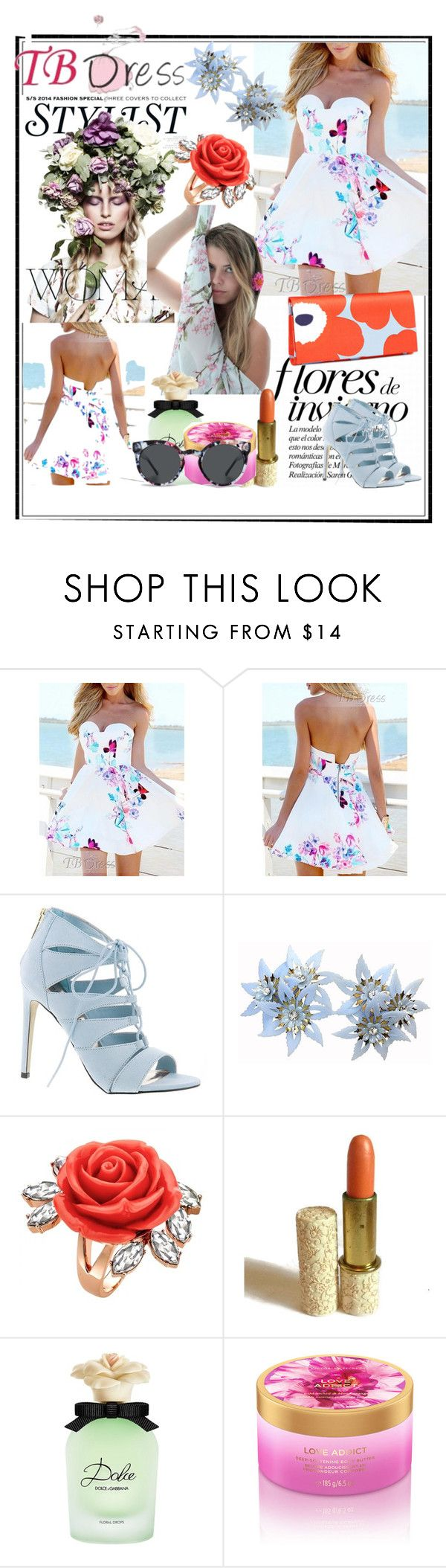 """TB Dress"" by azemina-moda ❤ liked on Polyvore featuring KAROLINA, Madden Girl, Mawi, Avon, Dolce&Gabbana, Komono and tbdress"