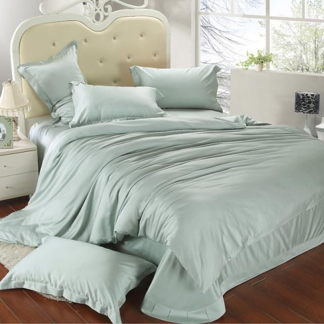 Luxury King Size Bedding Set Queen Light Mint Green Duvet Cover Double Bed In A Bag Sheet Linen Qui Green Duvet Covers King Size Bedding Sets King Bedding Sets