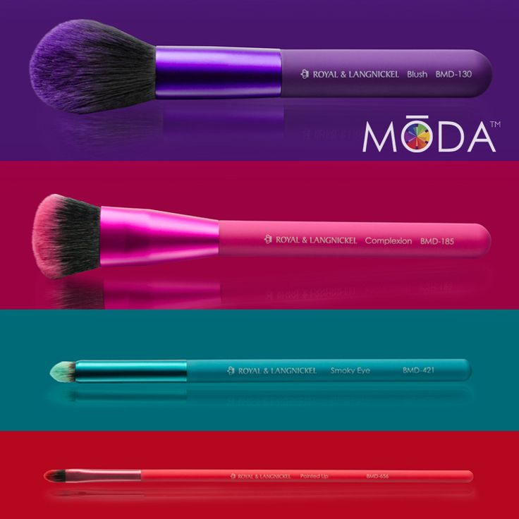 MODA makeup brushes come in 4 application specific colors. Designed for professional use at an amazing value. #MODA #royallangnickel