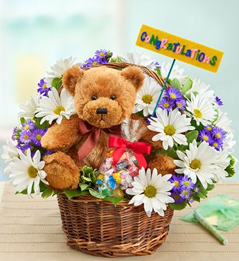 Lotsa Love® Congratulations- arrangement of white poms, lavender monte casino, salal and variegated pittosporum with plush stuffed bear $49.99