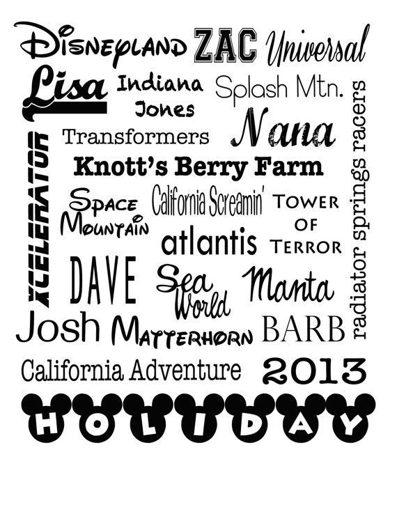 5 collage disney love personalized family vacation by OodlesDecals