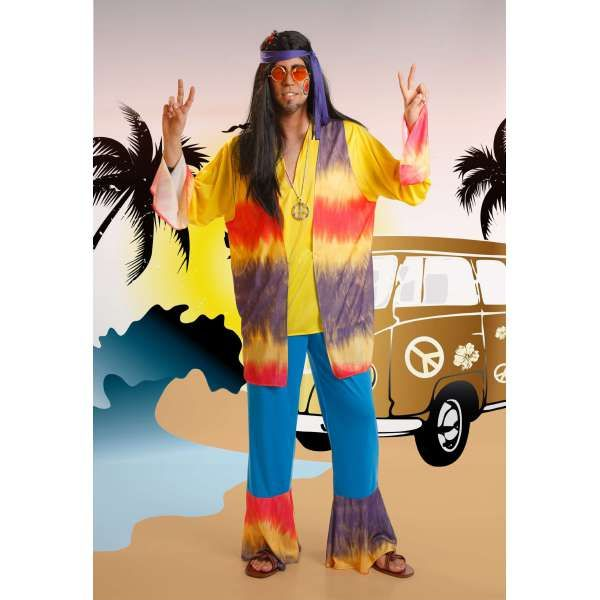 DisfracesMimo, disfraces de hippie colorido para hombres adultos talla m/l.podrás ir proclamando paz, amor y sobre todo diversión por todas las Fiestas.Este disfraz es ideal para tus fiestas temáticas de disfraces hippies Años 60,70 y 80 para hombre adultos.