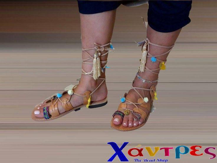 Greek handmade leather sandals.