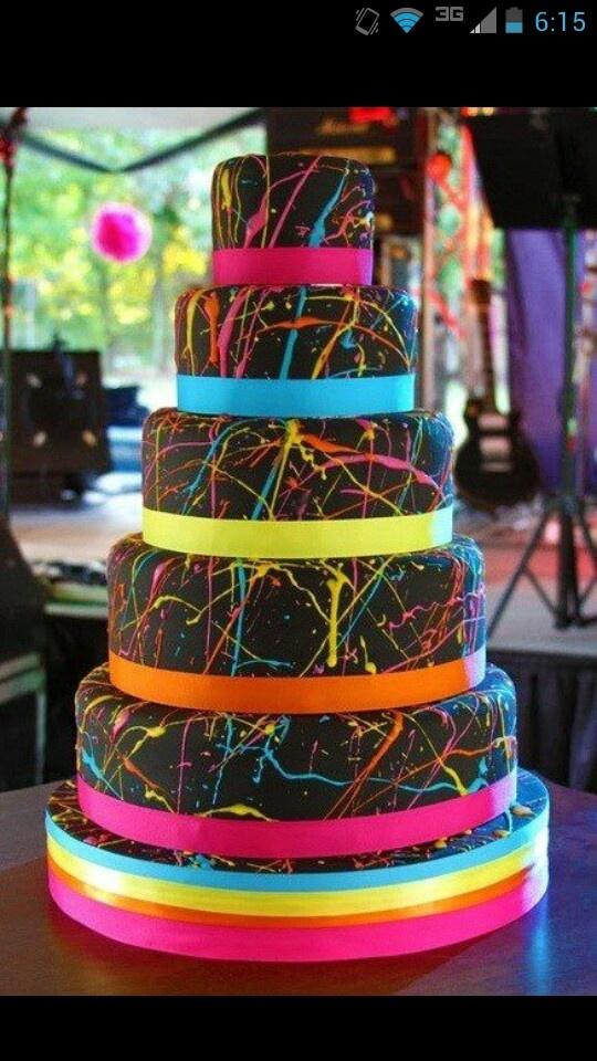 Neon Splatter Paint Layered Cake
