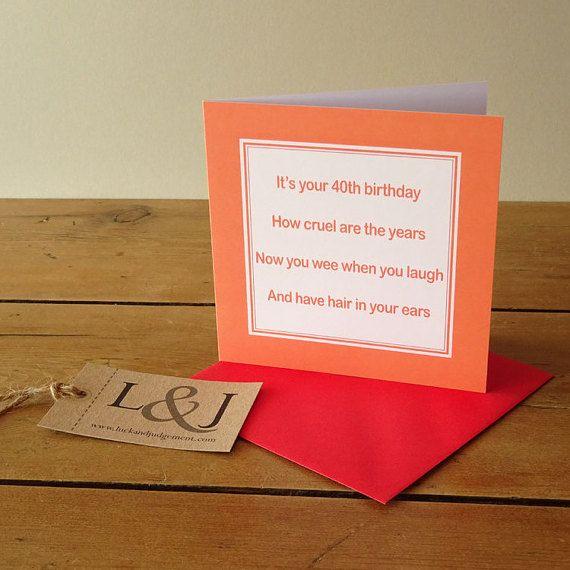 Funny 40th birthday card  rude birthday card by LuckJudgementGifts