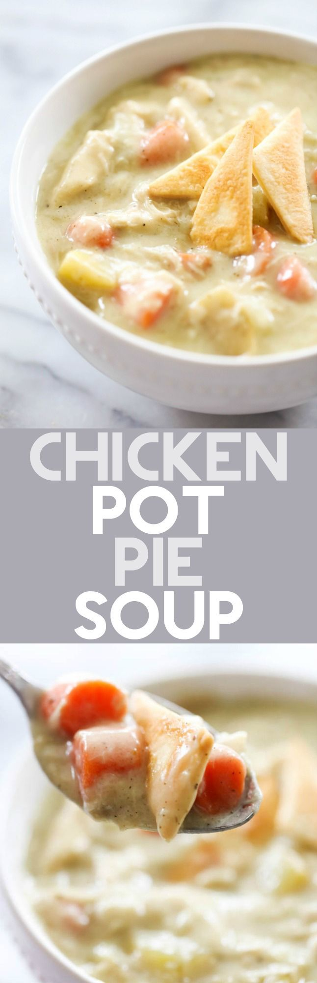 This Chicken Pot Pie Soup is a fun spin on a classic comfort food recipe! It is loaded with everything you love about the original and even has pie crust pieces on top!