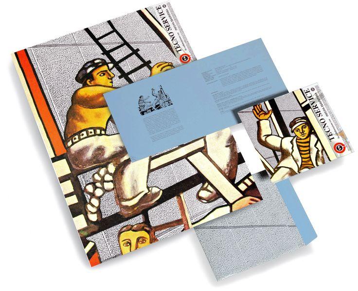 TECNOSERVICE: progettazione grafica di una brochure con poster e busta, liberamente ispirata alle opere di Léger, per un'azienda di servizi e prodotti rivolta all'edilizia industriale.   Progetto www.gariselliassociati.it
