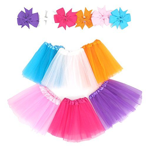 """Loveyal 6Pcs Tutus For Girls Princess Ballet Tulle Skirt Dress Up Costumes(2-8T) - Loveyal colorful tutu skirt setIncluding:Tutus:White,Pink,Orange,Rose,Purple,BlueButterfly Clips:White,Pink,Orange,Rose,Purple,BlueSize:2-8 year old girlLength 11.5"""" Waist 14"""" to 32""""Material:3 layers polyester tulle"""