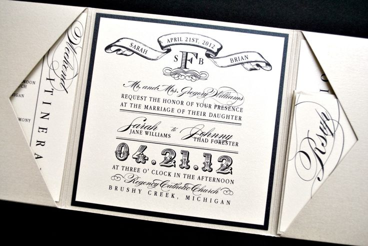 Miranda Wedding Invitation Suite with Vintage Luggage Tag Look - Trifold - Metallic Beige, Black and Ivory, Customizable