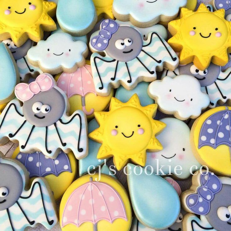 cj's cookies:  the itsy bitsy spider.  Theme for a little girl's birthday party.  Spiders. Umbrellas. Raindrops. Clouds.  Sunshine.
