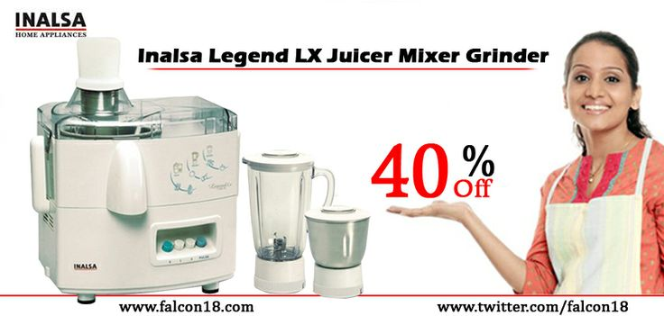 You can have an enjoyable cooking experience without making much effort in the kitchen! The Inalsa Legend LX Juicer Mixer Grinder is trustworthy and complete in itself.. Order now and avail the straight 40% discount-http://www.falcon18interior.com/Inalsa-Legend-LX-Juicer-Mixer-Grinder.htm?1018830//22001779/d22