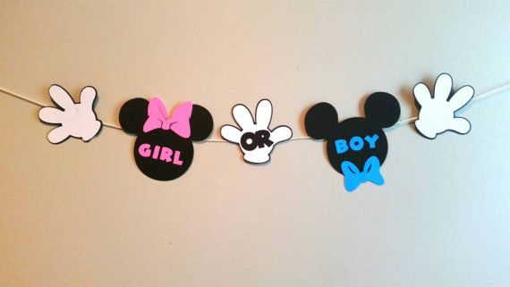 Mickey & Minnie Gender Reveal Banner. Mickey Mouse Themed Baby Shower. Check out this item in my Etsy shop https://www.etsy.com/listing/244663324/gender-reveal-party-decor-banner-he-or