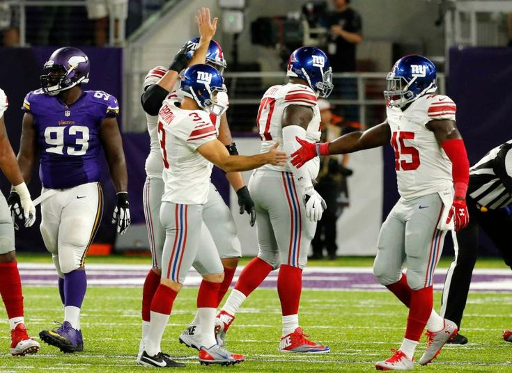 Monday Night Football: Giants vs. Vikings:   October 3, 2016  -  24 - 10, Vikings  -     New York Giants kicker Josh Brown celebrates with teammate Will Tye, right, after kicking a 40-yard field goal during the first half of an NFL game against the Minnesota Vikings on Monday, Oct. 3, 2016, in Minneapolis.