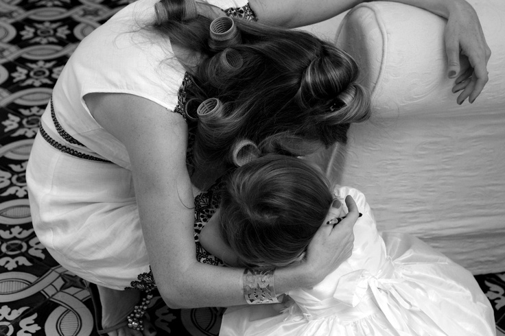 mommy's cuddles to ease the strain of being a flower girl