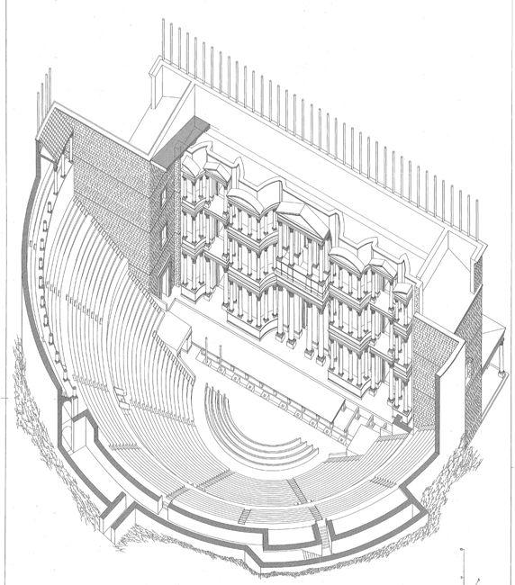 BRIXIA. ROMA E LE GENTI DEL PO/14 Il Teatro Romano di Brixia era il più grande del nord Italia dopo il teatro di Verona. Qualche numero? Misurava 86 metri in larghezza e probabilmente 34 in altezza. La scena era lunga 48 metri e poteva ospitare diverse migliaia di persone. The Roman Theatre of Brixia was the second biggest theatre in northern Italy, after Verona. Some details? It was 86m long and probably 34m high. The stage was 48m long and could host thousands of people.