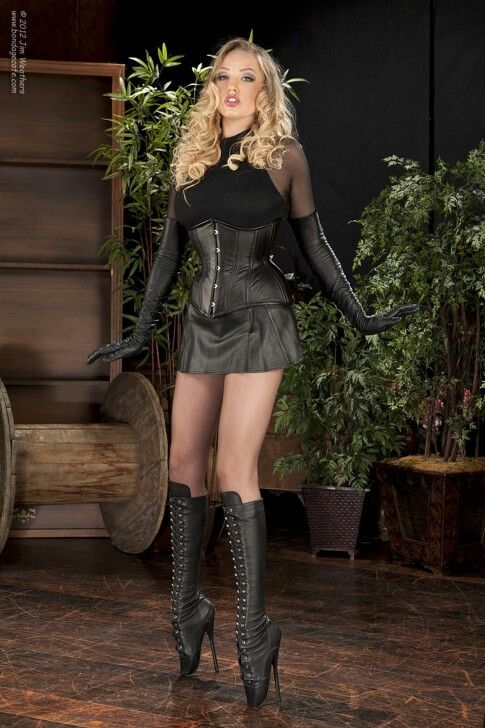 Blonde brown leather skirt corset ballet boots
