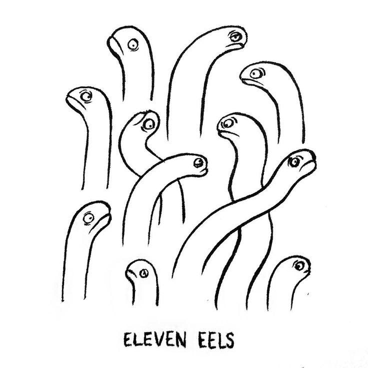 DAY 5 of Karo Rigaud's 2016 illustrated Advent Calendar: Eleven Eels... #adventskalender #advent #calendar #illustration #illustrationart #illustrationoftheday #creative #abc #abecedaire #artoftheday #eels #aal #fish #comic #drawing #drawingoftheday