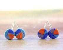Kleurrijke hedendaagse abstracte oorbellen, funky fimo, sieraden van polymeer klei