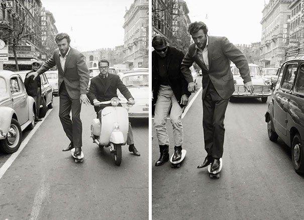 15.Clint Eastwood andando de skate em 1965