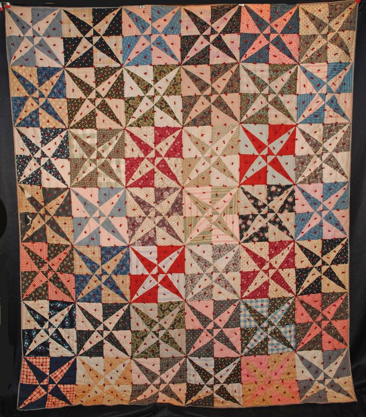 "ANTIQUE QUILT c1860's TIED CROSSED CANOES PATCHWORK COTTON 85"" x 71"" 