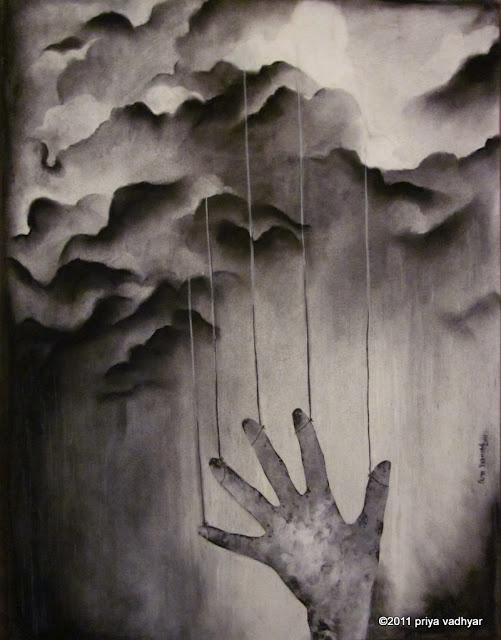 of strings imaginary - charcoal on paper, Priya Vadhyar