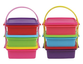 It's Hip to be Square Tiered Food Containers with Carrier Straps $24.95