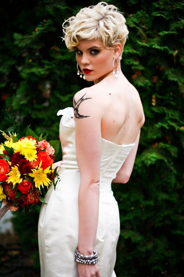 Pride and Prejudice Inspired Wedding Gown Shoot has this glamorous pixie cut