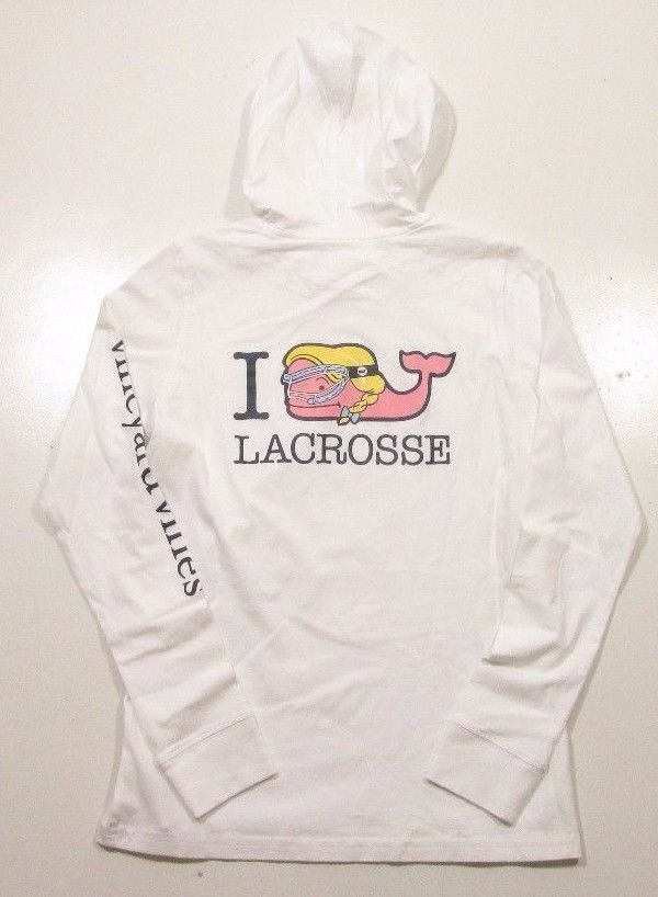 Vineyard Vines Women s L S White I Whale Lacrosse Hooded Pocket T-Shirt 2c22dbec8