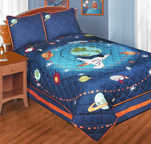 blue outer space bedding twin or full quilt sets galaxy space journey bedspread for kids. Black Bedroom Furniture Sets. Home Design Ideas
