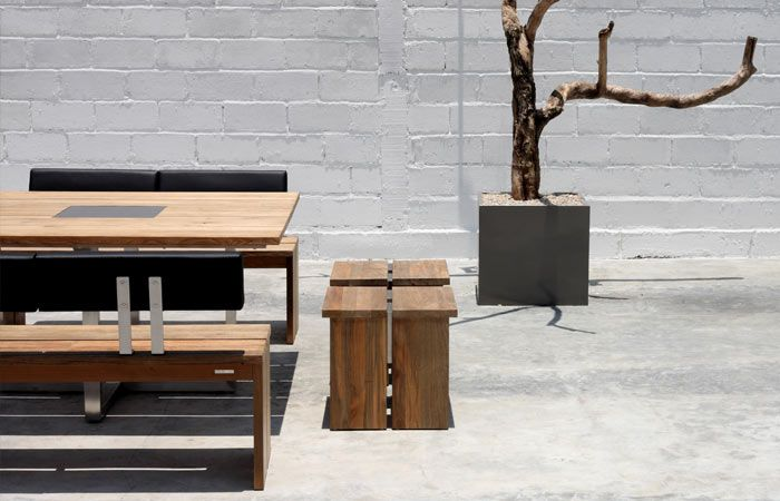 Quadux Table and Bench - Green Line from Zebra Outdoor Furniture with recycled Teak wood