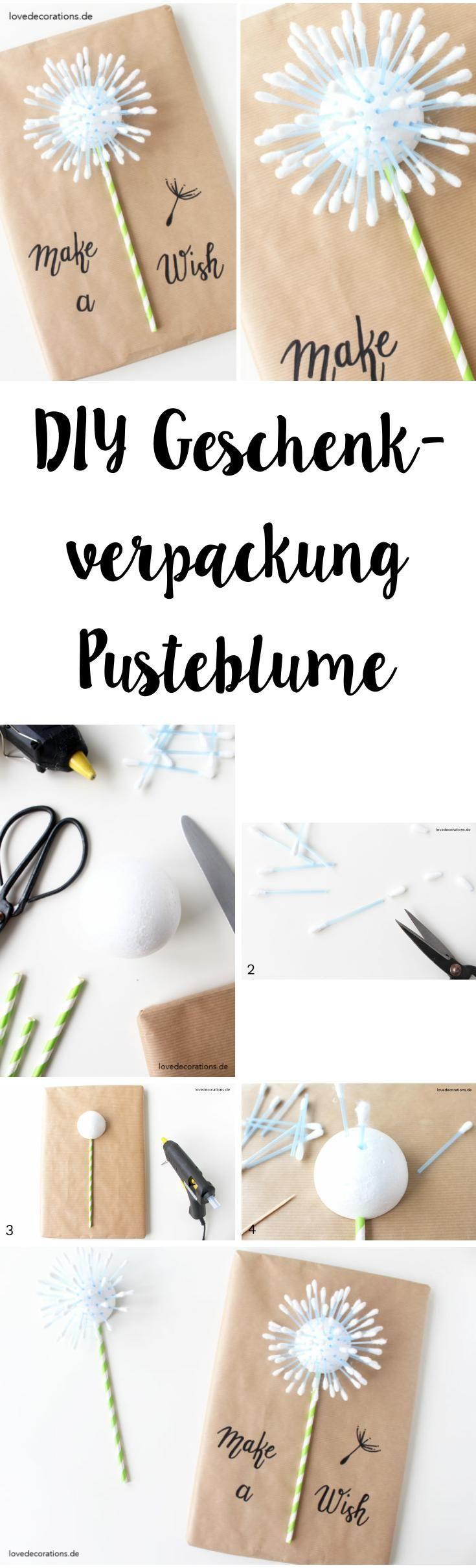 DIY Gift Wrapping: Dandelion | DIY Geschenkverpackung Pusteblume aus Styroporkugel + Wattestäbchen