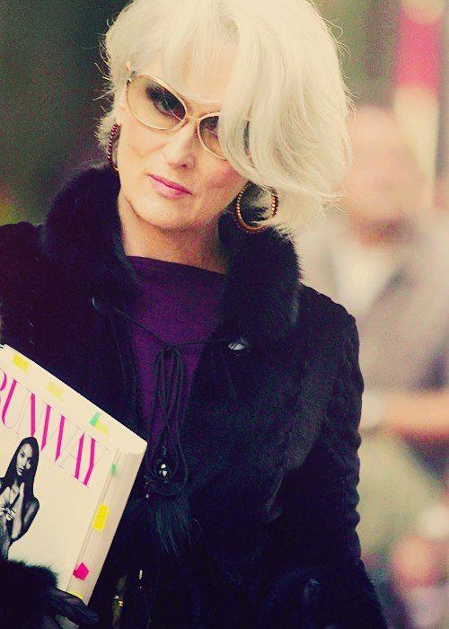 BOSS Miranda Priestly - The Devil Wears Prada: chic coat, magazine, gold sunglasses
