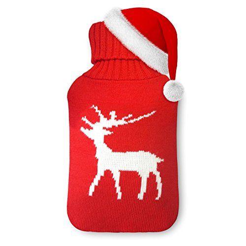 Apriller Bouteille d'eau chaude de 2 litres Premium Classic en caoutchouc et Couverture mignonne en tricot (Cerf blanc de Noël): Cette…