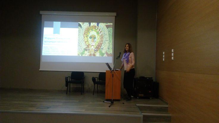Maria Sofologi of A.M.K.E. Althaia, during her speech at Bouziani Museum