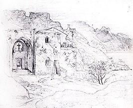 """Turisti nel tempo - Hans Christian Andersen (1805-1875) Amalfi  - """"In alto a sinistra, di fronte ad una profonda caverna naturale, domina sulla città un grande e magnifico monastero dove sostano tutti gli stranieri; ci salimmo a piedi lungo il sentiero scavato nella roccia; molto lontano, sotto i nostri occhi, si stendeva l'azzurro mare trasparente. Arrivati che fummo alla porta del monastero, ci trovammo di fronte."""""""