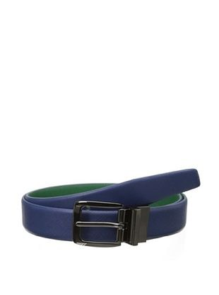 48% OFF Ike Behar Men's Textured Reversible Belt (Blue/Green)