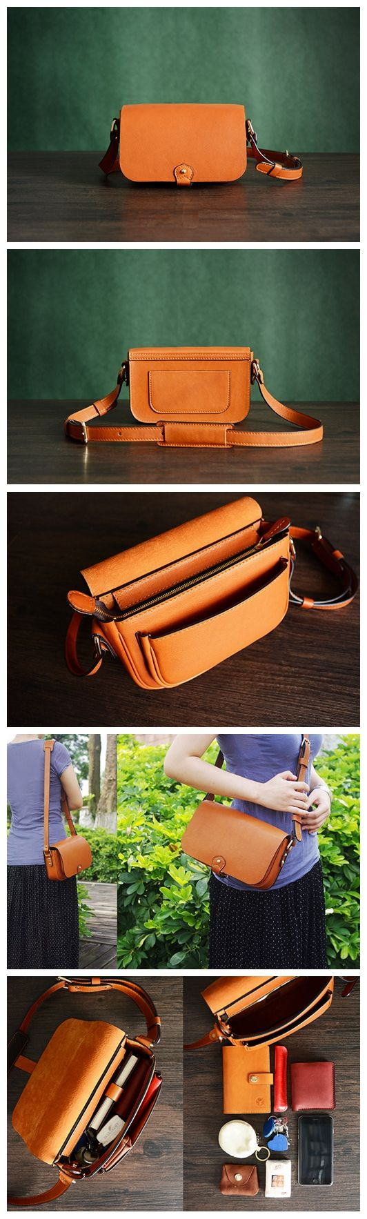 Custom Handmade Itanlian Vegetable Tanned Leather Satchel Bag Crossbody Shoulder Bag