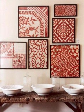 group of framed textiles